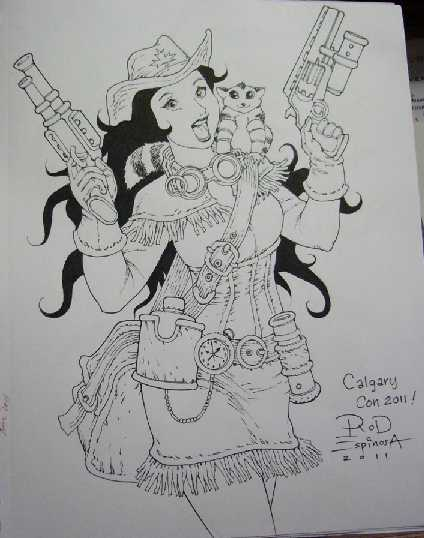 sketch of a steampunk cowgirl by rod espinoza
