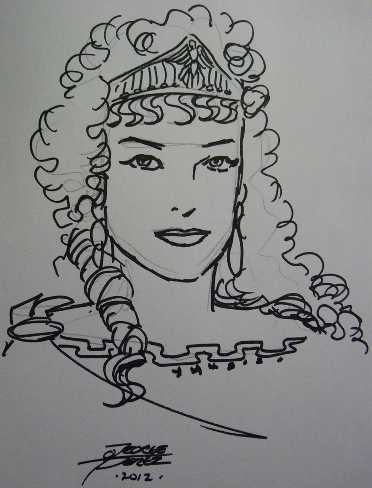 headshot sketch of hippolyta by george perez