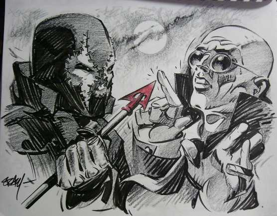 sketch of grendel and mr. x. facing off by ken steacy